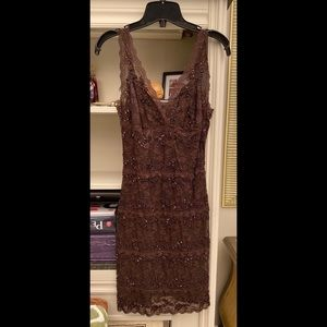 Le Chateau Formal Brown Beaded Dress in S